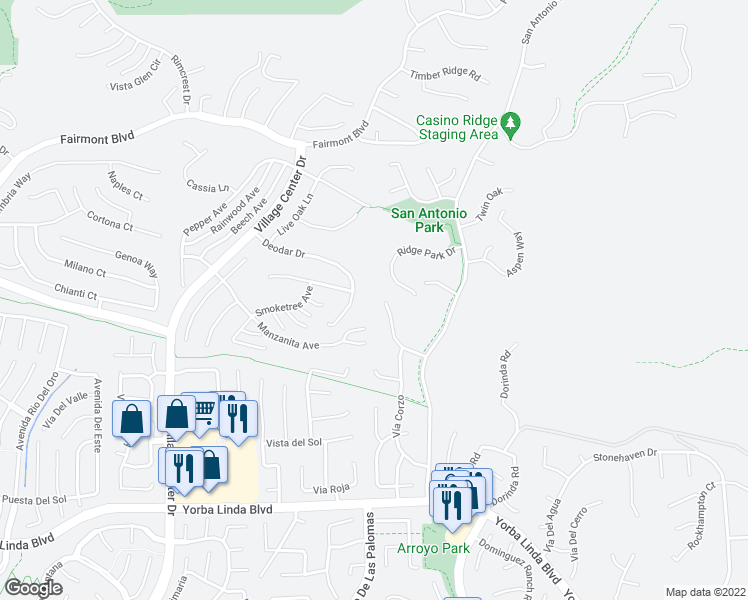 map of restaurants, bars, coffee shops, grocery stores, and more near in Yorba Linda