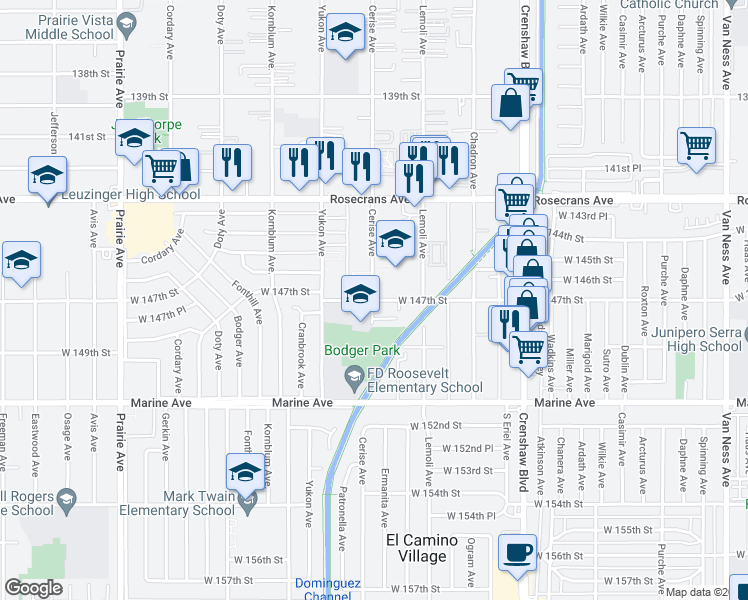 map of restaurants, bars, coffee shops, grocery stores, and more near 3515 West 147th Street in Hawthorne
