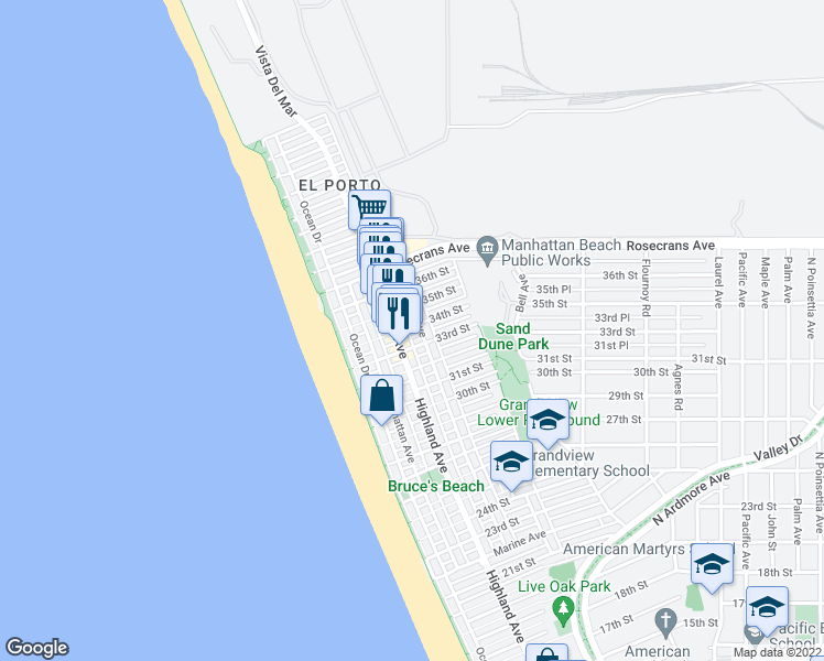 map of restaurants, bars, coffee shops, grocery stores, and more near 320 34th Street in Manhattan Beach