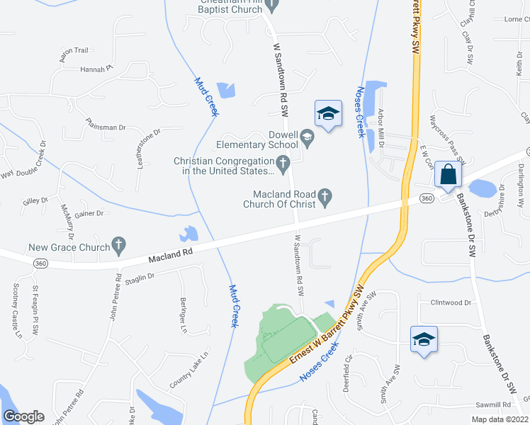 map of restaurants, bars, coffee shops, grocery stores, and more near 2218 W Sandtown Road Southwest in Marietta
