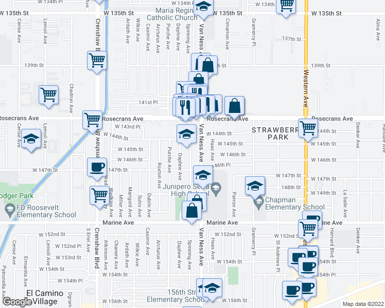 map of restaurants, bars, coffee shops, grocery stores, and more near 2805 141st Place in Gardena