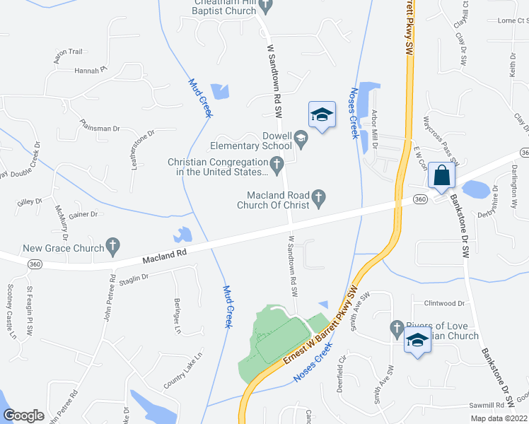 map of restaurants, bars, coffee shops, grocery stores, and more near 2218 West Sandtown Road Southwest in Marietta