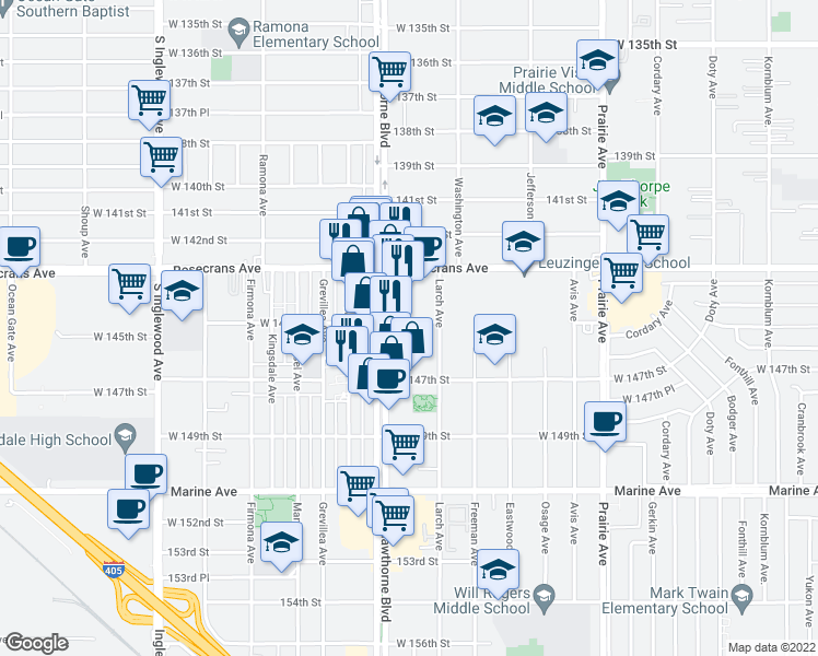map of restaurants, bars, coffee shops, grocery stores, and more near 4330 West 145th Street in Lawndale