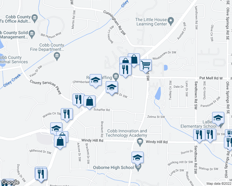 map of restaurants, bars, coffee shops, grocery stores, and more near 545 Lorene Drive Southwest in Marietta