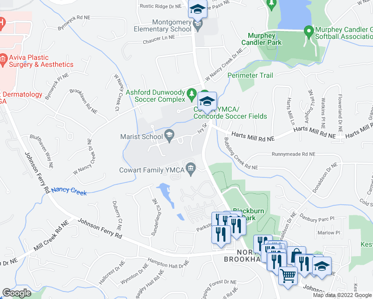 map of restaurants, bars, coffee shops, grocery stores, and more near 3790 Ashford Dunwoody Rd in Atlanta