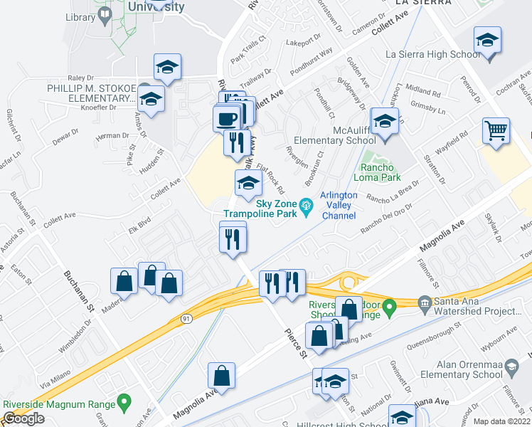 map of restaurants, bars, coffee shops, grocery stores, and more near Pierce St & Trail Creek Rd in Riverside