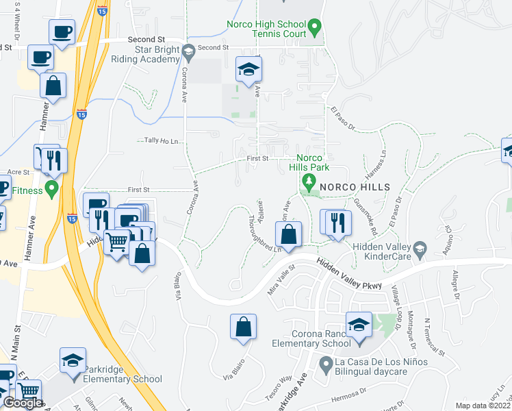 map of restaurants, bars, coffee shops, grocery stores, and more near 1354 Abilene in Norco