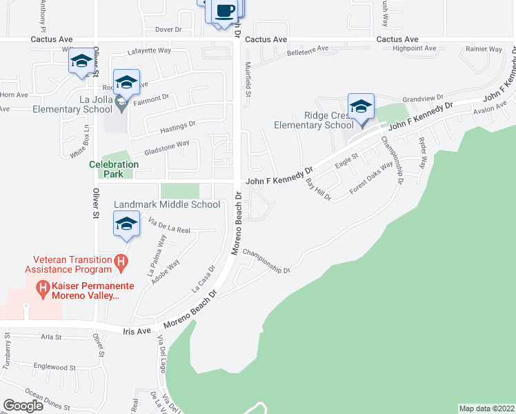 map of restaurants, bars, coffee shops, grocery stores, and more near 15100 Moreno Beach Drive in Moreno Valley