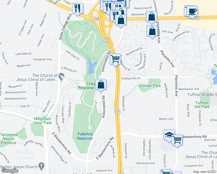 map of restaurants, bars, coffee shops, grocery stores, and more near 2726 Pine Creek Circle in Fullerton