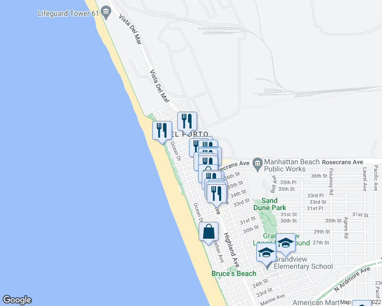 map of restaurants, bars, coffee shops, grocery stores, and more near 221 El Porto Street in Manhattan Beach