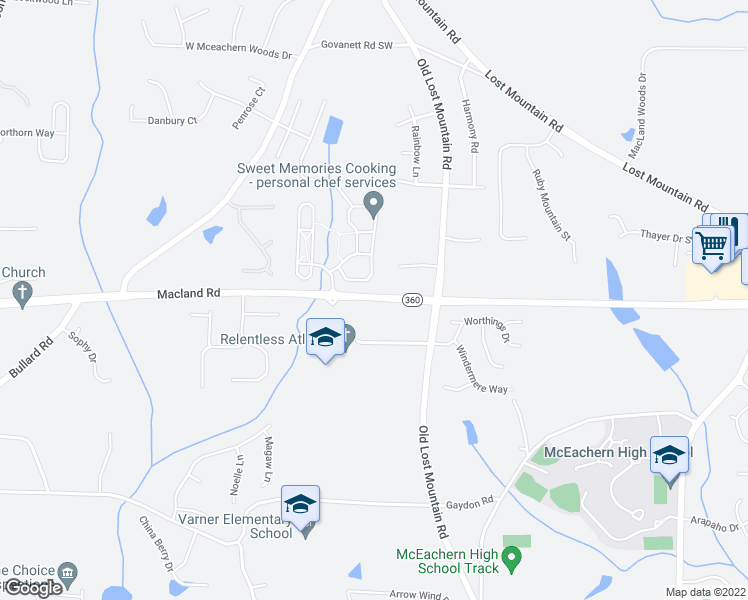 map of restaurants, bars, coffee shops, grocery stores, and more near 4680 Macland Road in Powder Springs