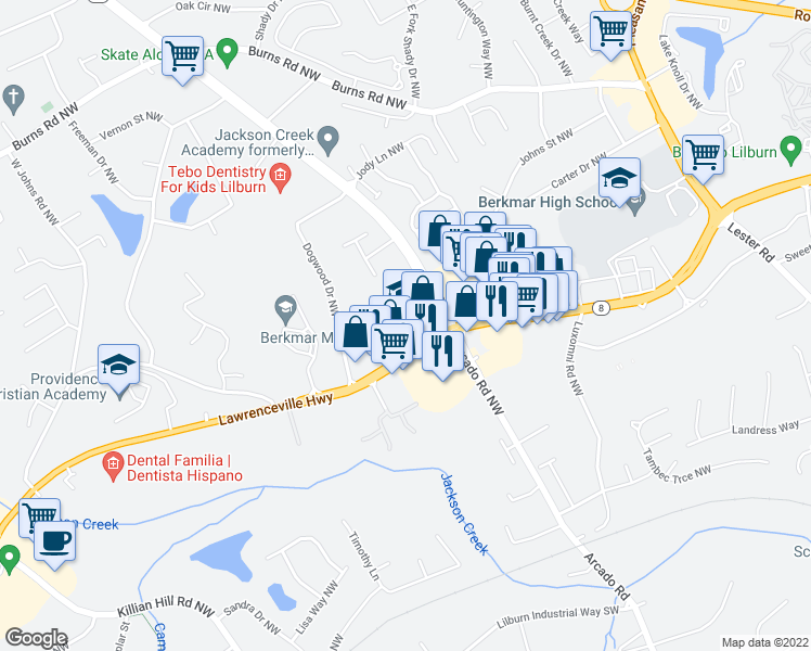 map of restaurants, bars, coffee shops, grocery stores, and more near 4245 Lawrenceville Highway in Lilburn