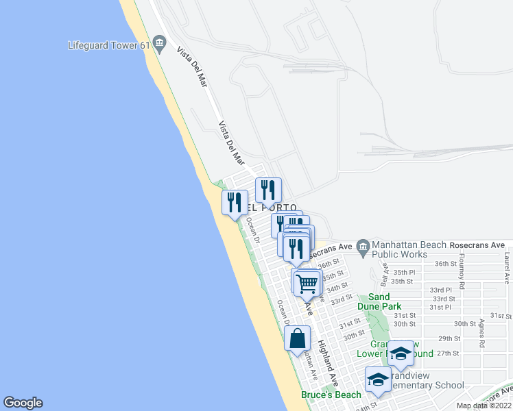 map of restaurants, bars, coffee shops, grocery stores, and more near 209 42nd Street in Manhattan Beach