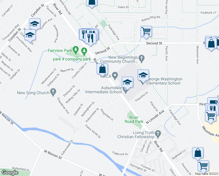 map of restaurants, bars, coffee shops, grocery stores, and more near 1172 Newfield Circle in Corona
