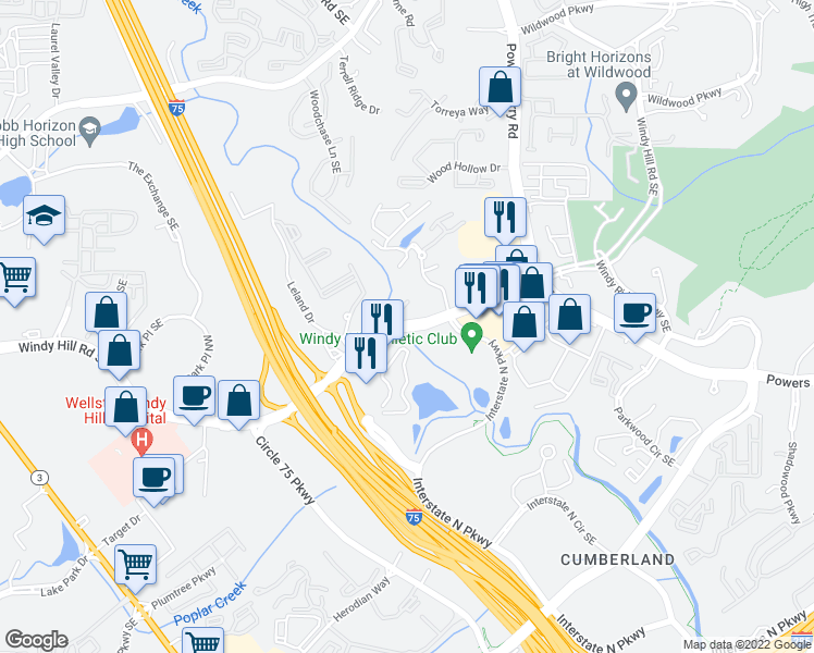 map of restaurants, bars, coffee shops, grocery stores, and more near 1951 Spectrum Circle in Marietta
