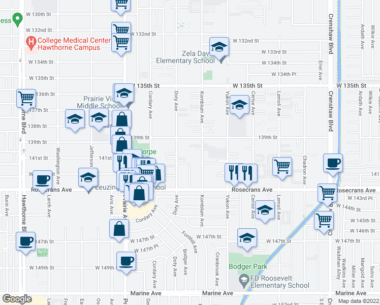map of restaurants, bars, coffee shops, grocery stores, and more near 13935 Kornblum Avenue in Hawthorne