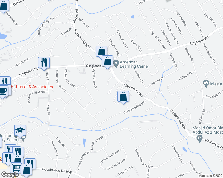 map of restaurants, bars, coffee shops, grocery stores, and more near 5601-5699 Harbinwood Drive in Norcross