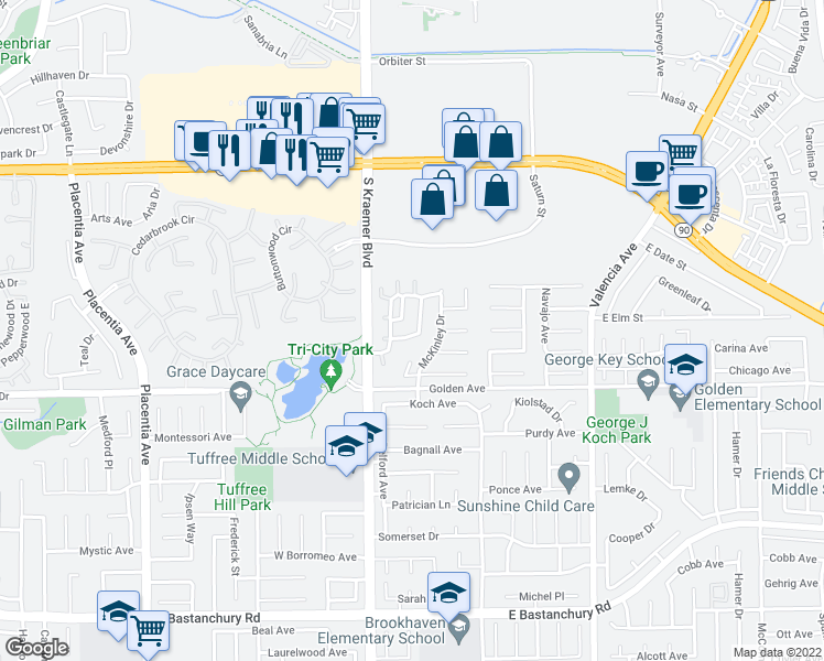 map of restaurants, bars, coffee shops, grocery stores, and more near 319 Chinook Drive in Placentia