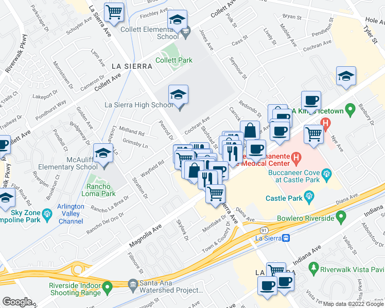 map of restaurants, bars, coffee shops, grocery stores, and more near 3924-3948 La Sierra Avenue in Riverside