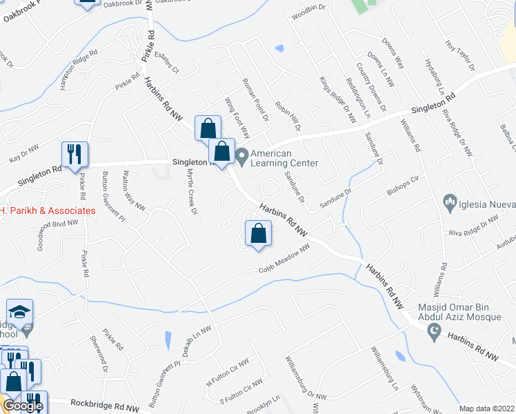 map of restaurants, bars, coffee shops, grocery stores, and more near 100-468 Hamptons Crossing in Norcross