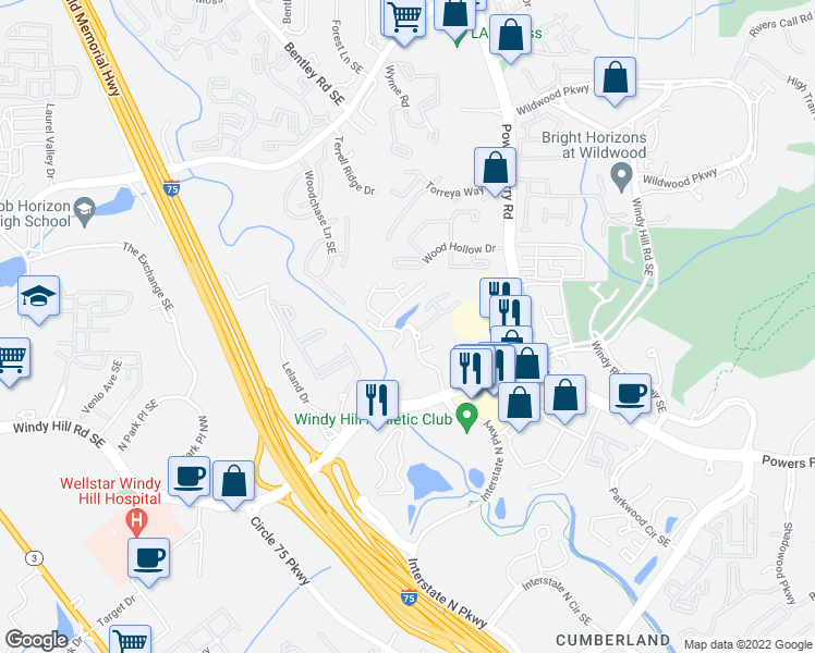 map of restaurants, bars, coffee shops, grocery stores, and more near 1970 Kimberly Village Lane Southeast in Marietta