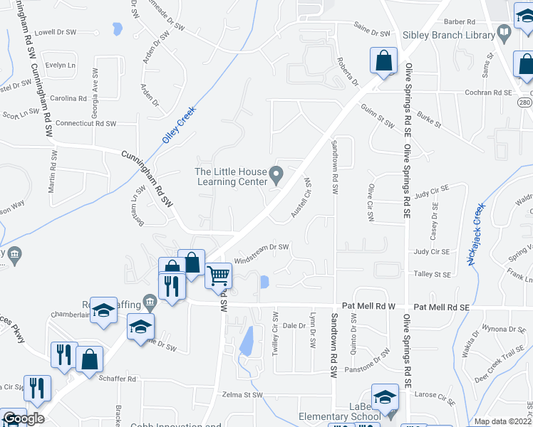 map of restaurants, bars, coffee shops, grocery stores, and more near Austell Circle Southwest in Marietta