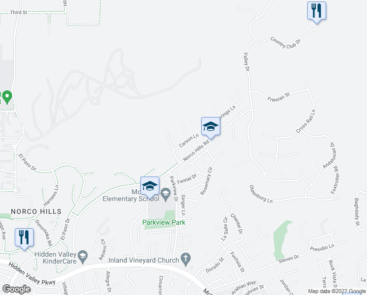 map of restaurants, bars, coffee shops, grocery stores, and more near 448 Carson Lane in Norco