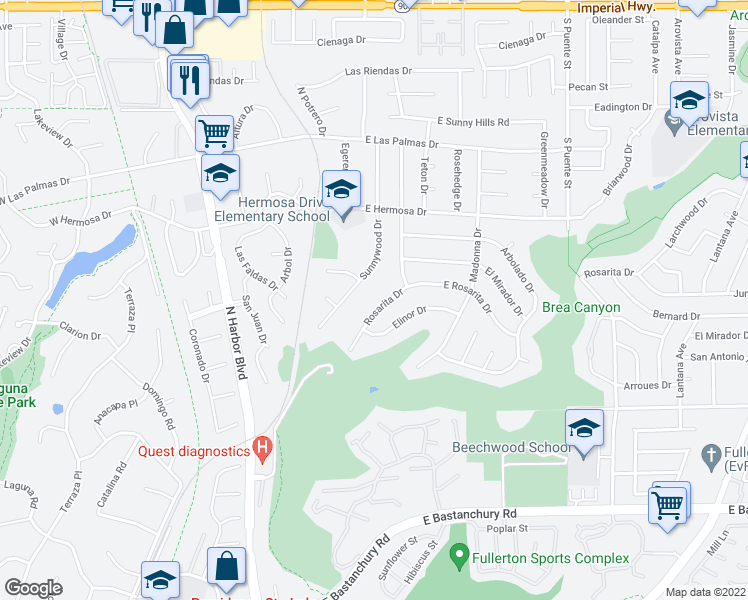 map of restaurants, bars, coffee shops, grocery stores, and more near 501 Rosarita Drive in Fullerton