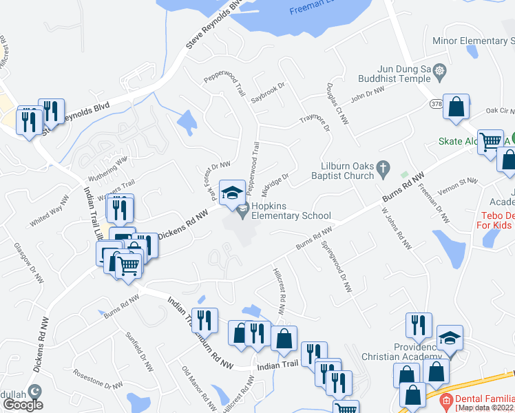 map of restaurants, bars, coffee shops, grocery stores, and more near 4688 Sagemont Court in Norcross