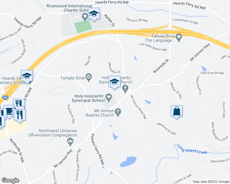 map of restaurants, bars, coffee shops, grocery stores, and more near 805 Mount Vernon Highway Northwest in Atlanta
