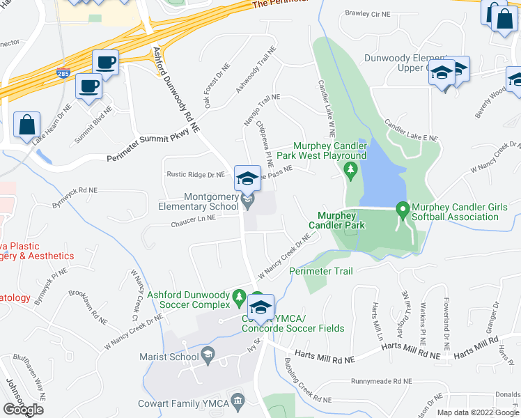 map of restaurants, bars, coffee shops, grocery stores, and more near 3995 Ashford Dunwoody Road Northeast in Atlanta
