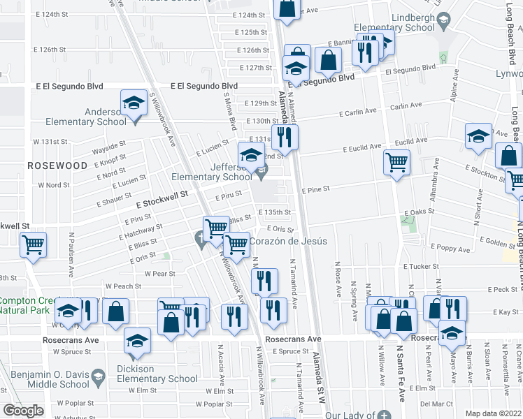 map of restaurants, bars, coffee shops, grocery stores, and more near 2507 East 135th Street in Compton