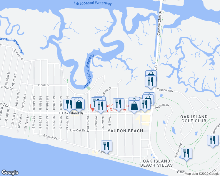 map of restaurants, bars, coffee shops, grocery stores, and more near Elizabeth Drive in Oak Island