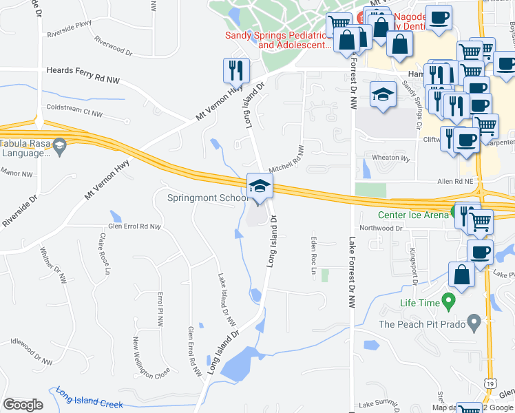map of restaurants, bars, coffee shops, grocery stores, and more near 5750 Long Island Drive Northwest in Atlanta