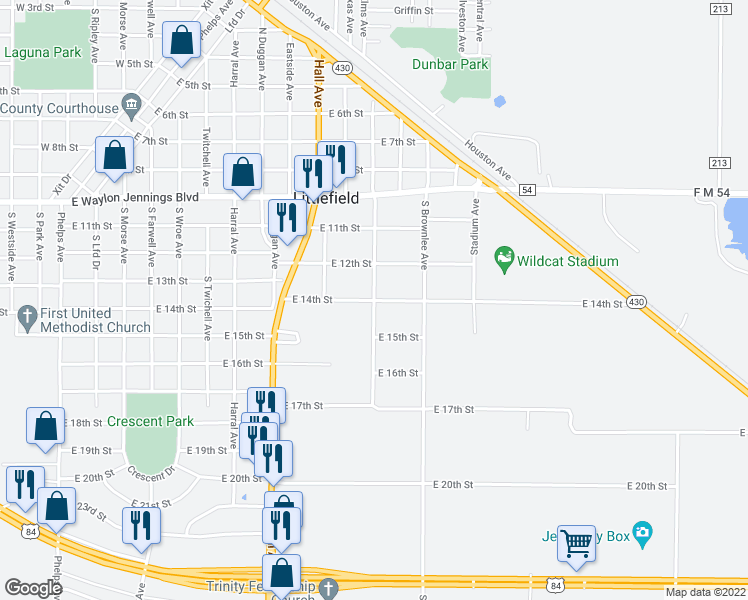 map of restaurants, bars, coffee shops, grocery stores, and more near East 14th Street in Littlefield