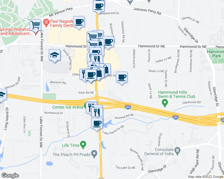 map of restaurants, bars, coffee shops, grocery stores, and more near 371-395 Carpenter Drive Northeast in Sandy Springs