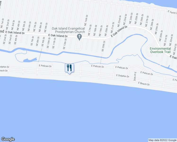 map of restaurants, bars, coffee shops, grocery stores, and more near 1616 East Dolphin Drive in Oak Island