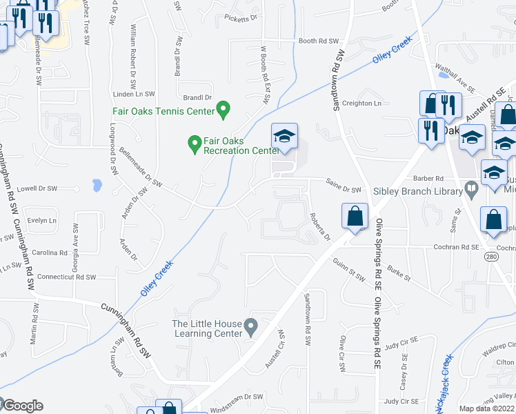 map of restaurants, bars, coffee shops, grocery stores, and more near 1225 Oakplace Drive Southwest in Marietta