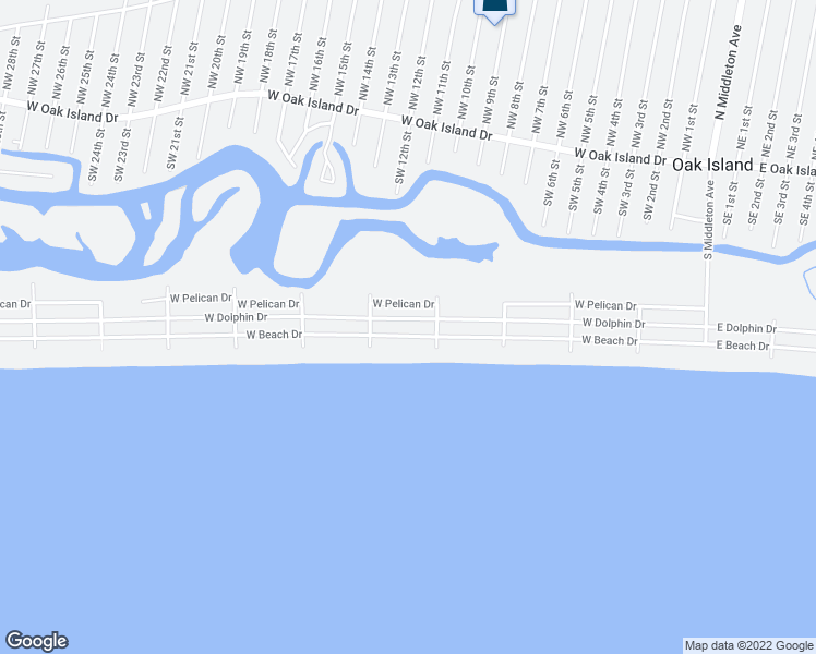 map of restaurants, bars, coffee shops, grocery stores, and more near 1014 West Beach Drive in Oak Island