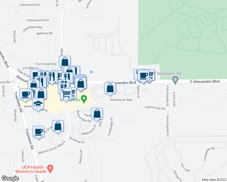 map of restaurants, bars, coffee shops, grocery stores, and more near 7450 Northrop Drive in Riverside