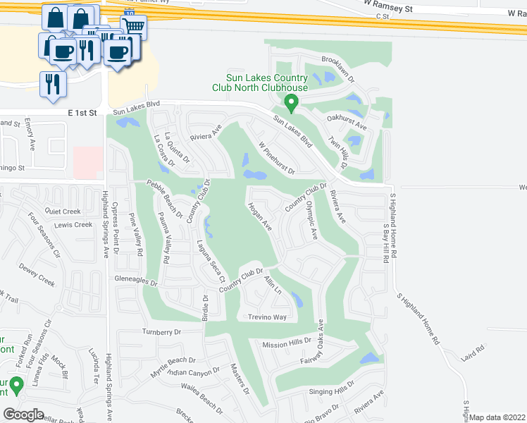 map of restaurants, bars, coffee shops, grocery stores, and more near 933 Casper Avenue in Banning