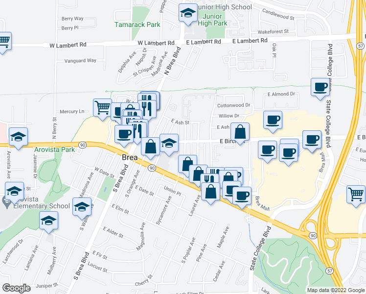 map of restaurants, bars, coffee shops, grocery stores, and more near 211 South Redwood Avenue in Brea