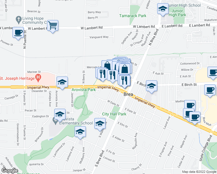 map of restaurants, bars, coffee shops, grocery stores, and more near 303 West Imperial Highway in Brea