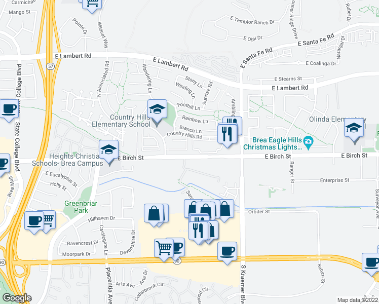map of restaurants, bars, coffee shops, grocery stores, and more near 154 Country Club Drive in Brea