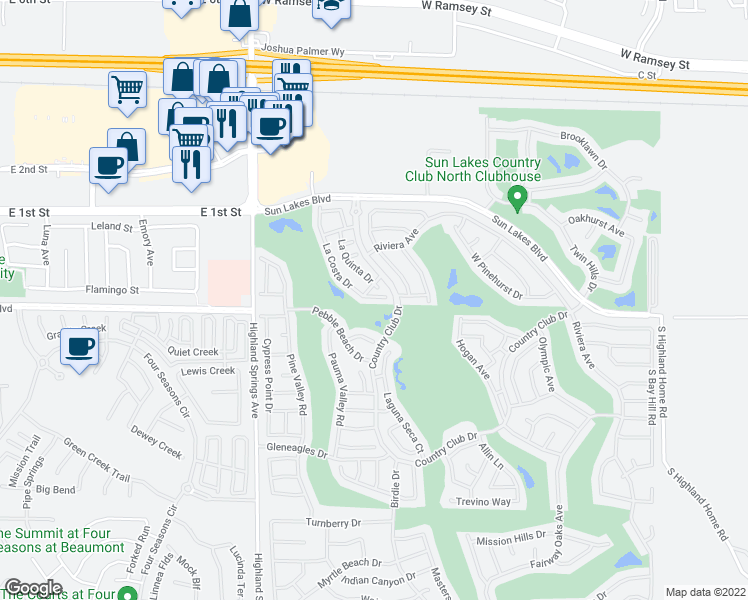 map of restaurants, bars, coffee shops, grocery stores, and more near 755 La Costa Drive in Banning