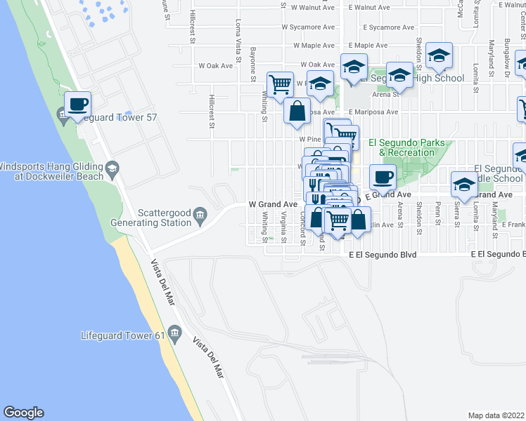 map of restaurants, bars, coffee shops, grocery stores, and more near 219 Whiting Street in El Segundo