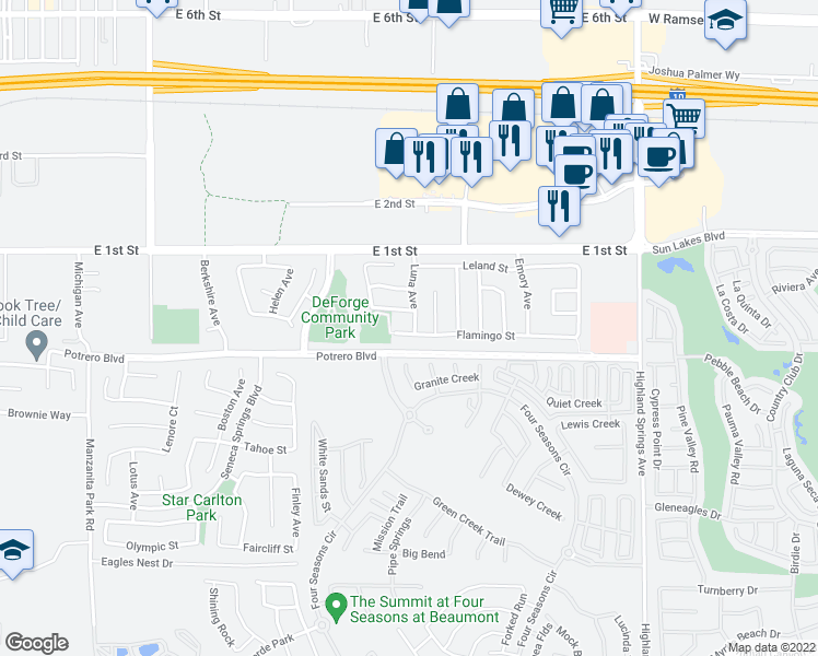 map of restaurants, bars, coffee shops, grocery stores, and more near 1496 Flamingo Street in Beaumont