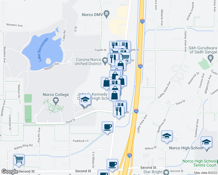 map of restaurants, bars, coffee shops, grocery stores, and more near Clark Ave & Lampton Ln in Norco