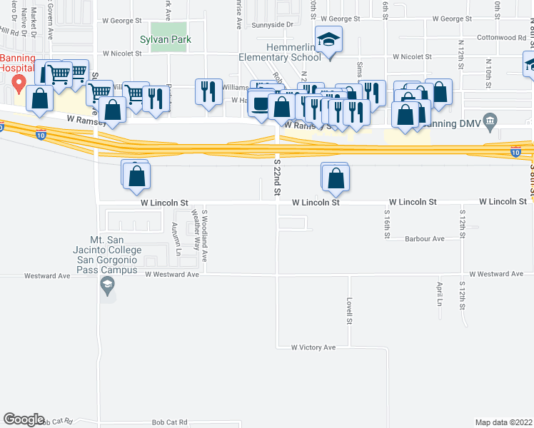 map of restaurants, bars, coffee shops, grocery stores, and more near 467 South 22nd Street in Banning