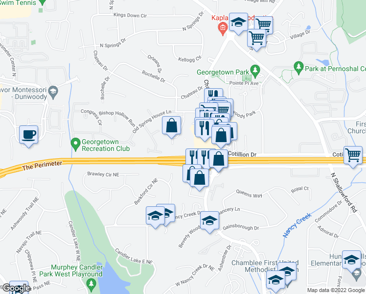 map of restaurants, bars, coffee shops, grocery stores, and more near 4472 Chamblee Dunwoody Road in Atlanta